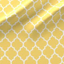 moroccan quatrefoil lattice in lemon yellow fabric spacefem