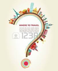 where to travel question with tourism icons and elements