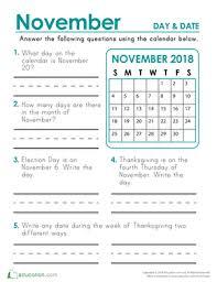 november 2018 calendar days and dates worksheet education