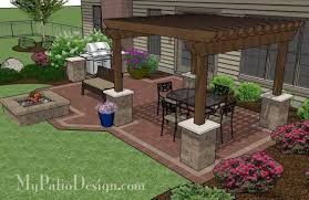 Backyard Patio Images by Backyard Brick Patio Design With 12 X 12 Pergola Grill Station