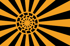 fascist flag with black sun design vexillology