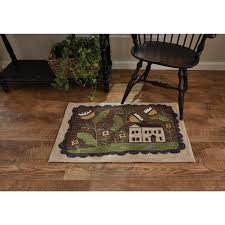 Country Hooked Rugs Whimsey Cottage Hooked Rug 24x36 Country Village Shoppe
