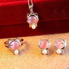 pink crystal pendant necklace images Gold plated pink crystal pendant necklace earrings ring cat set a3 jpg