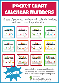 pocket chart calendar cards monthly and pieces