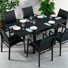 Black Extending Dining Table And Chairs Dining Table Set Black 6 Person Aluminium Glass