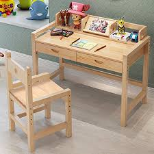 Natural Wood Computer Desk Tribesigns Kids Study Desk And Chair Set With Hutch Height