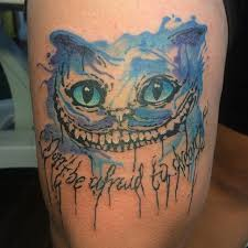 watercolor cheshire cat tattoo by daan van den dobbelsteen