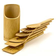 cool cooking tools intriom bamboo set of 7 bamboo made cooking baking kitchen