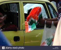 Automotive Flags Indian Flags On Sale On The Eve Of Indian Independence Day Stock