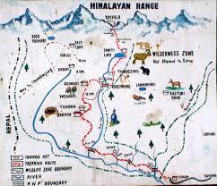 Himalayan Mountains Map Sikkim Goechala Pass Map