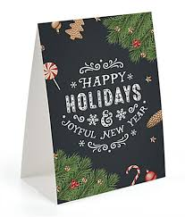 happy holidays chalkboard printed table tent stock message