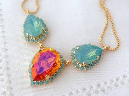 pink turquoise necklace images Pink orange pacific opal and turquoise swarovski crystal necklace jpg