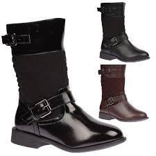 biker boots kiki girls low heels zip up quilted mid calf biker boots winter