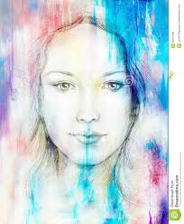 Color Painting by Drawing Portrait Young Woman With Ornament On Face Color Painting