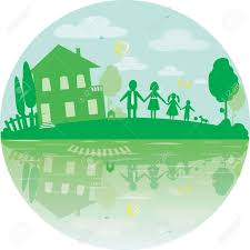 happy green color illustration of happy family and house of dreams round icon