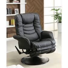 Oversized Swivel Rocker Recliner Coaster Swivel Recliner In Black Leatherette Walmart Com