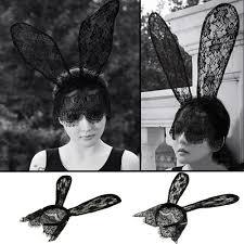 women hair bands lace rabbit bunny ears veil black eye mask