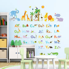 jungle animals alphabet wall stickers