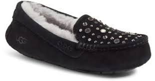 black ugg slippers lyst ugg ugg ansley studded water resistant slipper in black