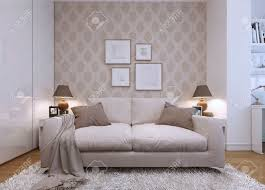 beige sofa in the living room in a modern style wallpaper on
