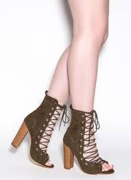 bootie ful chunky lace up heels beige black charocal dustypink