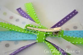 ribbon hair clip tutorial fabric ribbon hair bows our thrifty ideas