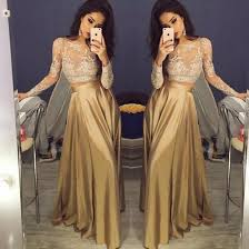 long prom dress two piece long sleeve top with lace