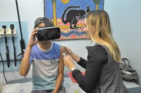 patients who use virtual reality goggles when receiving vaccines