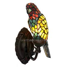 Tiffany Style Wall Sconces Parrot Shaped Stained Glass Shade Vintage Wall Sconce