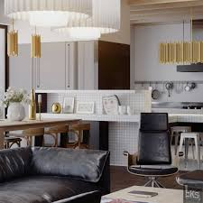 Kitchen Table Top Design Leks Architects Kiev Apartment Black Leather Lounge With View To