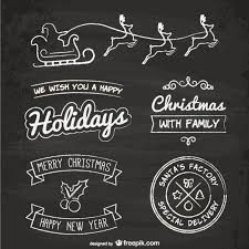 blackboard style christmas elements vector free download