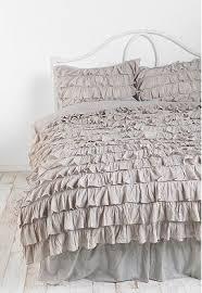 repurpose fabric shower curtain into a ruffled duvet