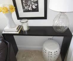 console table behind sofa against wall sleek console table making your own out of three shelves when you