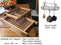 decor hanging pots and pans rack for kitchen storage ideas with