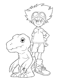taichi and agumon coloring page digimon coloring page