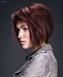 bob hairstyle with steep vertical cuts throughout