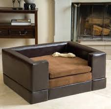 Leather Sofa And Dogs Ottoman Bed Sofa Beds For Dogs Elevated Cushy Cushioned