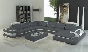 canape gris et blanc deco in canape panoramique cuir gris et blanc design avec