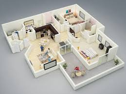 House Models And Plans 25 More 2 Bedroom 3d Floor Plans