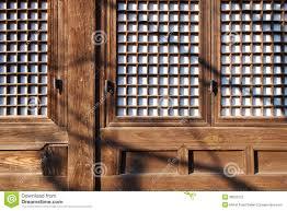 Korean Design Ancient Korean Wooden Window And Wall Design Stock Photography