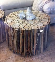 Diy Round End Table by Diy Stick Table You Could Use Sticks On The Outside And Wood