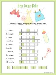 here is a really cute baby shower word scramble that also includes