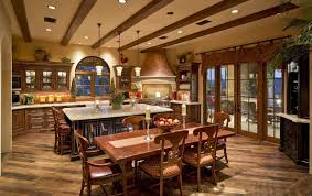 rustic kitchen island design with wooden beam ceiling for italian