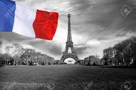 Paris Flag Image Eiffel Tower With Flag Of France In Paris City Stock Photo