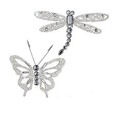 5 acrylic silver glitter butterfly and dragonfly