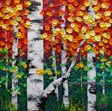 colourful fall birch and aspen trees in autumn painting by