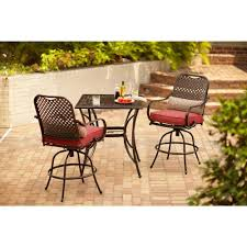 Hd Patio Furniture by Hampton Bay Fall River 3 Piece Bar Height Patio Dining Set With