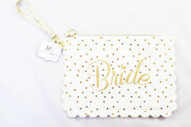 bridal makeup bag makeup cosmetic bag white gold glitter bridal shower gift