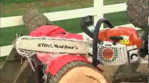 demonstration of stihl chainsaw protective chaps youtube