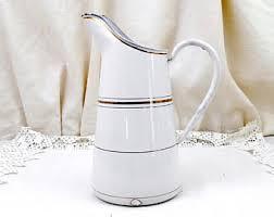white enamel pitcher etsy